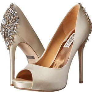 New Badgley Mischka Satin Embellished Heels